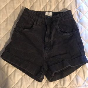 High waisted black denim shorts